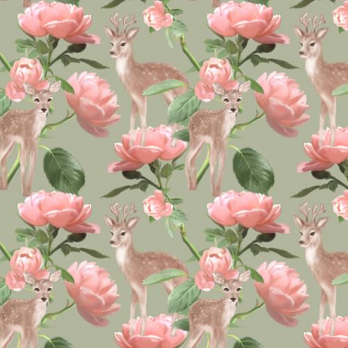 Deer Love Roses
