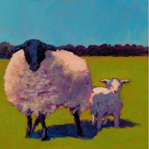 Protector Acrylic Painting of Sheep