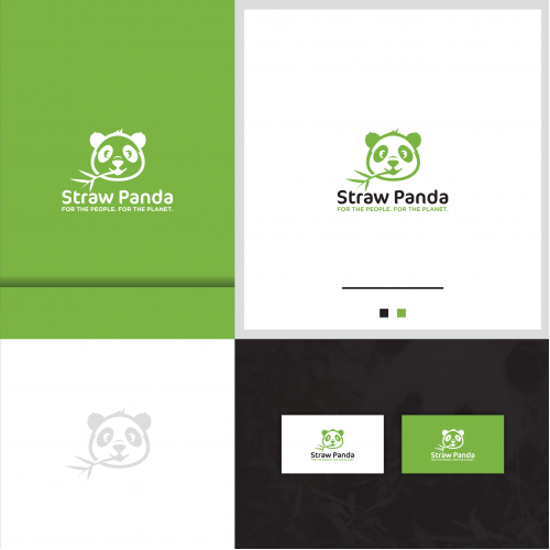 Straw Panda Logo And Business Card Design