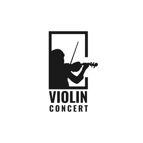Silhouette Violin Player Logo design inspiration