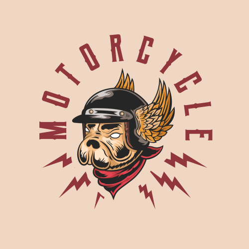Dog with helmet motor club logo concept