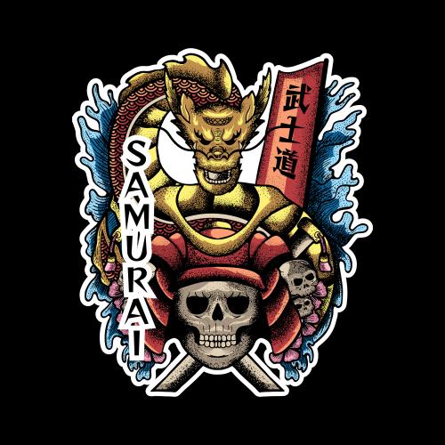 Skull samurai with dragon illustration style