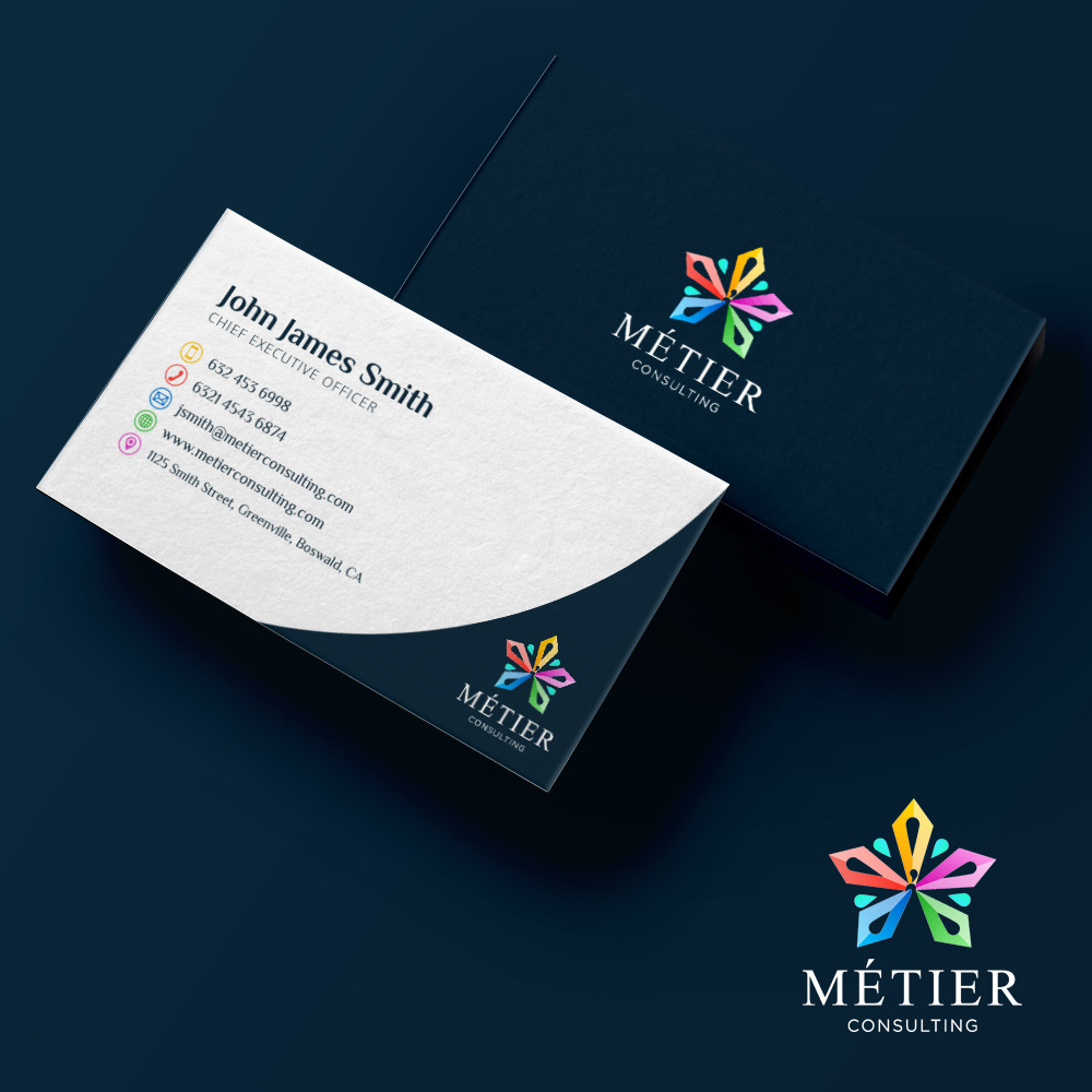 Winning Entry #1 for Business Card Design contest - Business & Consulting Business Card Design required by Metier Consulting - original
