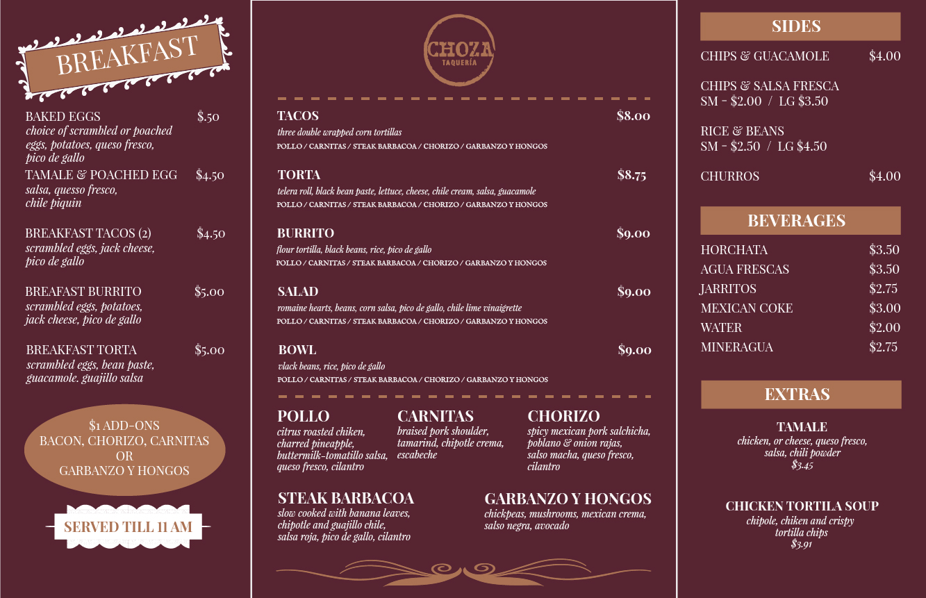 Winning Entry #5 for Menu Design contest - Restaurant Menu Design required by Choza Taqueria - original