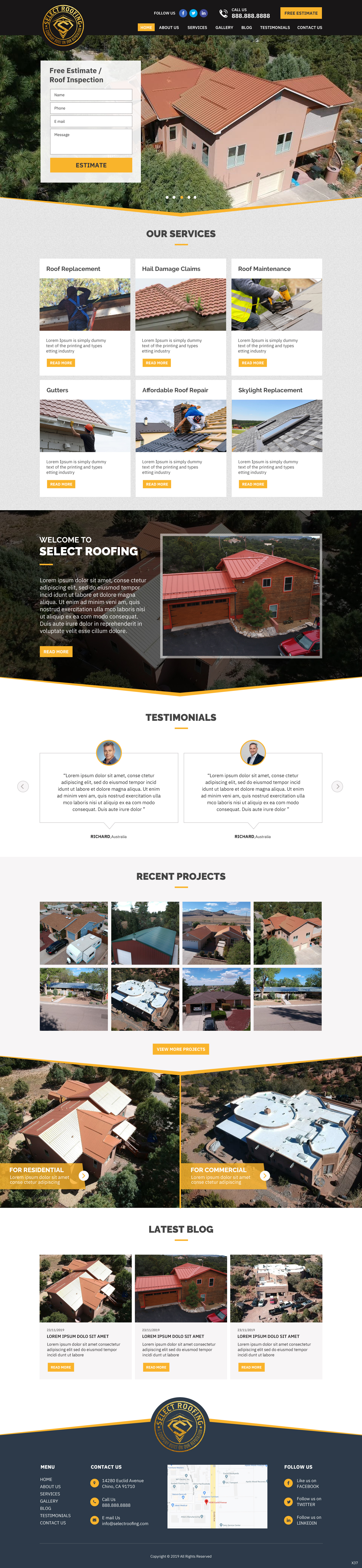 Winning Entry #22 for Website Design contest - Select Roofing - original